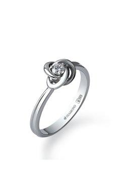 Золотое кольцо с бриллиантом бриллиантовая сфера 15 из белого золота 585-й пробы с бриллиантом (1500594)