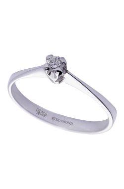 Золотое кольцо с бриллиантом бриз 15 из белого золота 585-й пробы с бриллиантом (1500954)