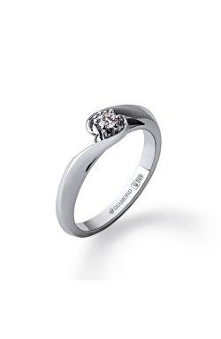 Золотое кольцо с бриллиантом орхидея из белого золота 585-й пробы с бриллиантом (1510344)