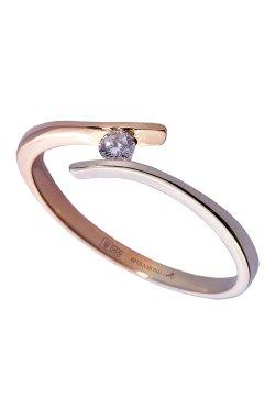Золотое кольцо с бриллиантами ideal из белого золота 585-й пробы из красного золота 585-й пробы с бриллиантом (1506243)