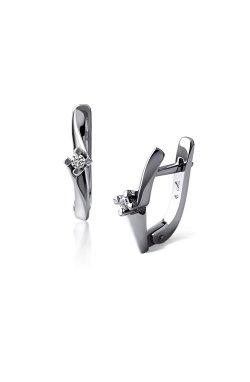 Серебряные серьги с бриллиантами нежность из родированного серебра 925-й пробы с бриллиантом (250076 )