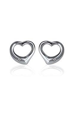 Серебряные серьги пусеты с бриллиантами сердца из родированного серебра 925-й пробы с бриллиантом (251046 )