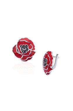 Серебряные серьги с эмалью красный мак из родированного серебра 925-й пробы с эмалью (281101 )