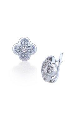 Серебряные серьги crystal queen из родированного серебра 925-й пробы с куб. циркониями (2 426 )