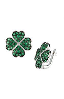 Серебряные серьги lucky irish зеленые из родированного серебра 925-й пробы с альпинитом (2 4142 1)