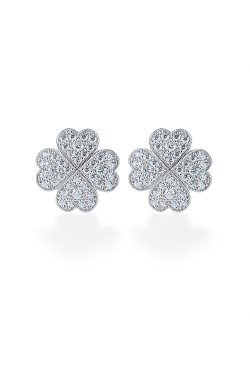 Серебряные серьги lucky irish белые из родированного серебра 925-й пробы с куб. циркониями (2 414 )