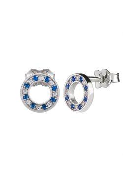 Серебряные серьги пусеты кружок с цирконием n.2 из родированного серебра 925-й пробы с куб. циркониями (2 4 2 1)