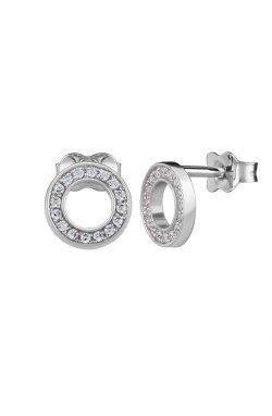 Серебряные серьги пусеты кружок с цирконием n.1 из родированного серебра 925-й пробы с куб. циркониями (2 4 )