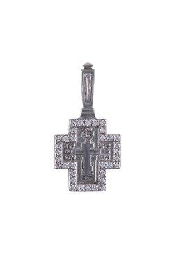 Серебряный кулон крестик в камнях из родированного серебра 925-й пробы с куб. циркониями (3 408 )