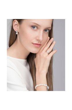 Серебряные серьги с жемчугом королевская из родированного серебра 925-й пробы с куб. циркониями жемчугом (231407 )