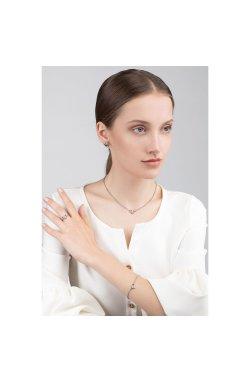 Серебряные серьги пусеты с бриллиантами музыка любви из родированного серебра 925-й пробы с бриллиантом (251394 )
