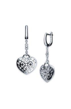 Серебряные серьги с бриллиантами открытое сердце из родированного серебра 925-й пробы с бриллиантом (251354 )