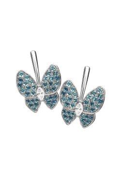 Серебряные серьги бабочки n.6 из родированного серебра 925-й пробы с куб. циркониями (2 2602 6)