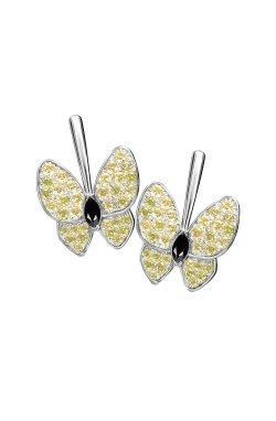 Серебряные серьги бабочки n.9 из родированного серебра 925-й пробы с куб. циркониями (2 2602 3)