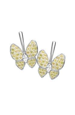 Серебряные серьги бабочки n.7 из родированного серебра 925-й пробы с куб. циркониями (2 2602 5)