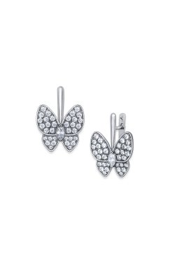 Серебряные серьги бабочки n.1 из родированного серебра 925-й пробы с куб. циркониями (2 2602 2)