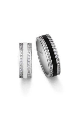 Серебряное обручальное кольцо с белой эмалью из родированного серебра 925-й пробы с куб. циркониями (1 8402 1)