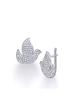 Серебряные серьги голуби из родированного серебра 925-й пробы с куб. циркониями ( 230 2)