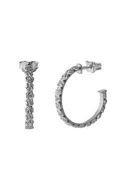 Серебряные серьги пусеты феерия роз из родированного серебра 925-й пробы ( 065 2)