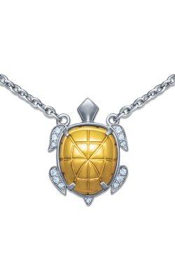 Колье из серебра черепаха 40-43-46 из родированного серебра 925-й пробы с куб. циркониями (323 5 )