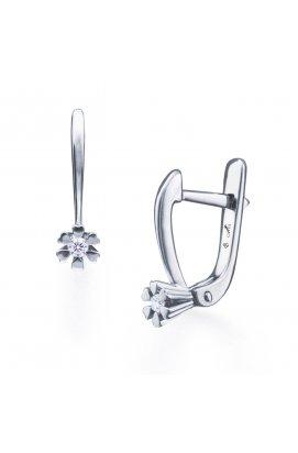 Серебряные серьги с бриллиантами нота сердца из родированного серебра 925-й пробы с бриллиантом (2513632 1)