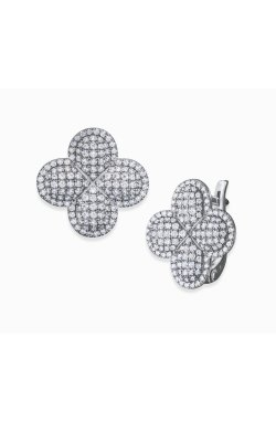 Серебряные серьги гламур из родированного серебра 925-й пробы с куб. циркониями (2 659 )