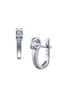 Серебряные серьги с бриллиантами изящность из родированного серебра 925-й пробы с бриллиантом (25 562 1)