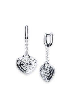 Серебряные серьги открытое сердце из родированного серебра 925-й пробы ( 1354 )