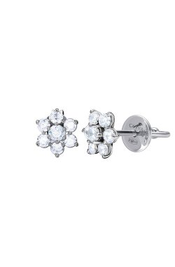 Серебряные серьги пусеты снежинки n.1 из родированного серебра 925-й пробы с куб. циркониями (2 599 )