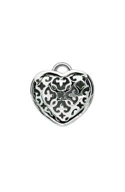 Серебряный шарм изумрудное сердце из родированного серебра 925-й пробы с нанокристаллом (3 303 )