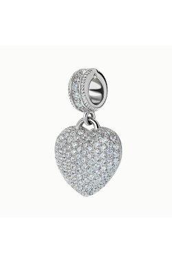 Серебряный шарм хрустальное сердце из родированного серебра 925-й пробы с куб. циркониями (3 289 )
