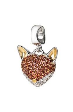 Серебряный шарм лисичка из родированного серебра 925-й пробы с куб. циркониями (3 296 )
