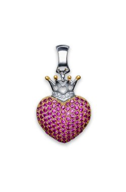 Серебряный шарм пурпурное сердце из родированного серебра 925-й пробы с куб. циркониями (3 288 )