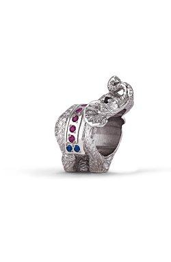 Серебряный шарм слоненок из родированного серебра 925-й пробы с куб. циркониями корундом шпинелью синтетической (3 2942 1)