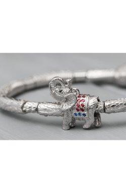 Серебряный шарм слоник папа из родированного серебра 925-й пробы с куб. циркониями корундом шпинелью синтетической (3 29 1)