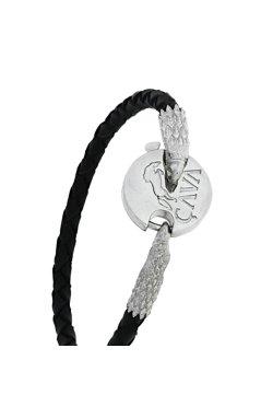 Плетеный кожаный браслет орел из родированного серебра 925-й пробы с куб. циркониями (561 5 )