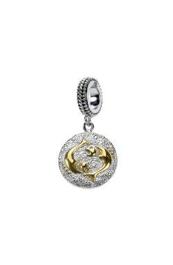 Серебряный шарм подвеска знак зодиака рыбы из родированного серебра 925-й пробы (311246 )