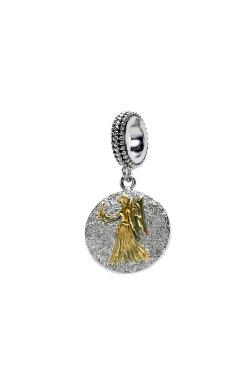 Серебряный шарм подвеска знак зодиака дева из родированного серебра 925-й пробы (31125 2)