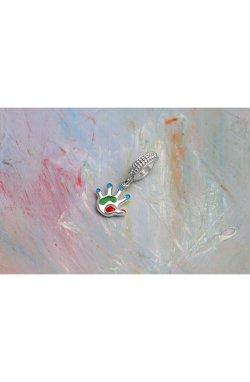 Серебряный шарм с эмалью ручка n.2 из родированного серебра 925-й пробы (38123 2)