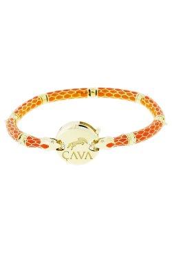 Золотой браслет огненый питон из желтого золота 585-й пробы с эмалью (5811302)