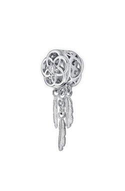 Бусина подвеска ловец снов из серебра small из родированного серебра 925-й пробы с куб. циркониями (32 85 )