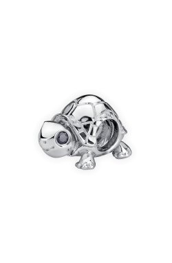Серебряный шарм подвеска черепашка small из родированного серебра 925-й пробы с куб. циркониями (31 84 )