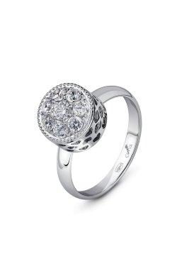 Серебряный женский перстень с фианитами из родированного серебра 925-й пробы с куб. циркониями (1 47 2)