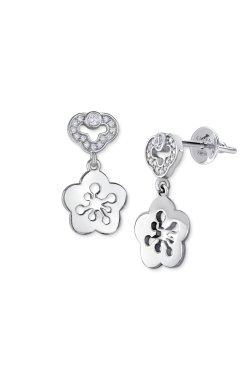 Серебряные серьги одуванчики с фианитами из родированного серебра 925-й пробы с куб. циркониями ( 14 )