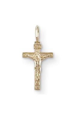 Маленький крестик спаси и сохрани желтое золото из желтого золота 585-й пробы (3104982)