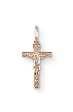 Маленький золотой крестик спаси и сохрани из красного золота 585-й пробы (3104983)