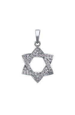 Кулон звезда давида белое золото из белого золота 585-й пробы с куб. циркониями (3 9874)