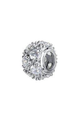 Серебряная бусина снежная small из родированного серебра 925-й пробы с куб. циркониями (3 457 )