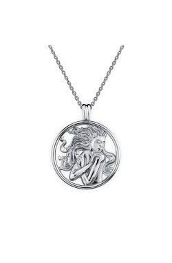 Серебряный кулон ундина из родированного серебра 925-й пробы с шпинелью синтетической (3 996 )