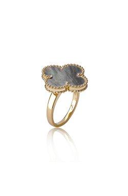 Золотое кольцо van cleef magic из желтого золота 585-й пробы с перламутром ( 01272)
